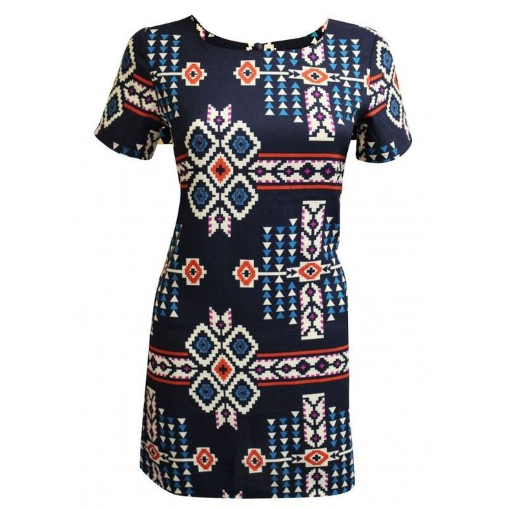 NEW LOOK Blue Red Diamond Aztec Print Tunic Mini Dress Top 6 to 16 RARE ASOS