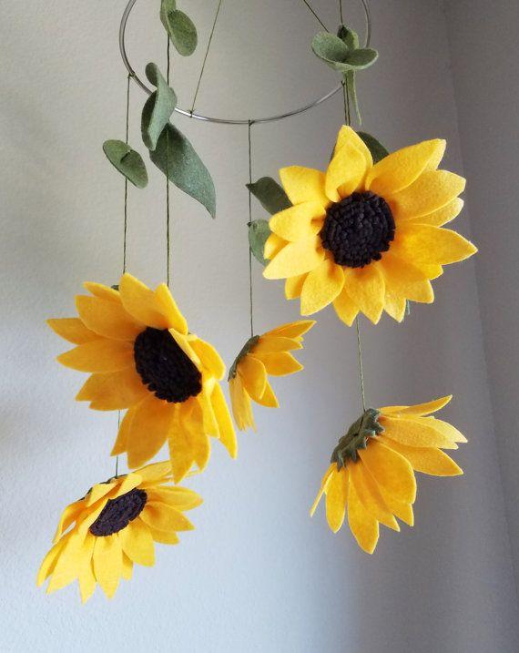 Sunflower Felt Crib Mobile / Felt Flowers Mobile by ThreadandHeart