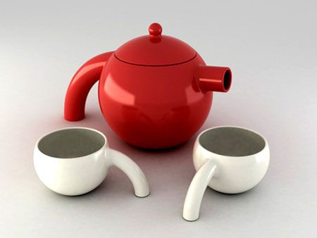 Colorful Contemporary Avestruz Tea Set