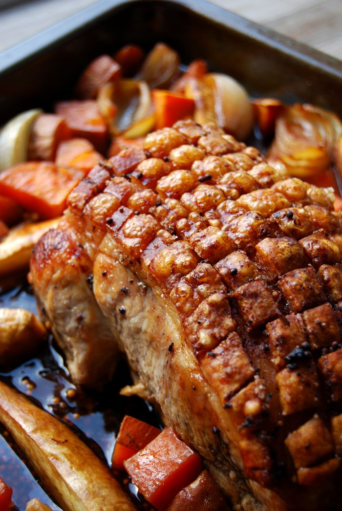 Bavarian Beer Roasted Pork with Spices, Sweet Potatoes and Parsnip ° eat in my kitchen