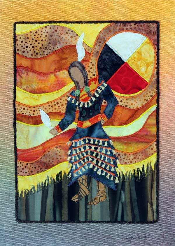 Native American Jingle Dress Dancer, Four Directions, Medicine Wheel, art quilt on canvas. $120.00, via Etsy.