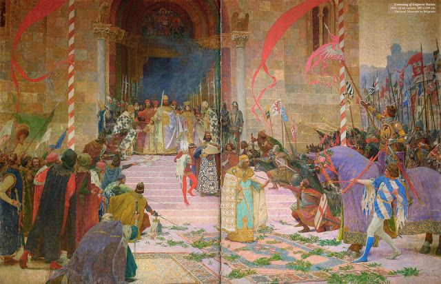 Crowning of Emperor Dušan, (in 1346), 1900 (This is a hudge canvas, 390 X 589 cm. Jovanović painted a few versions of this painting)