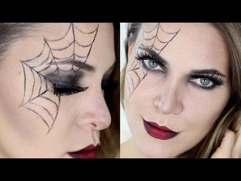 Quick and easy spider web halloween makeup - YouTube