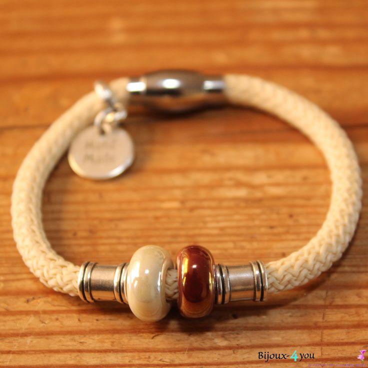 Hand gemaakte Dreamz koord armband met keramiek kralen