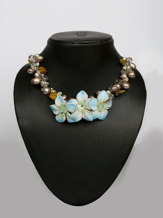 Beautiful Leather flower Necklace with crystal stones by LeatherAX