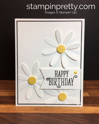 Daisy Punch & Happy Birthday Gorgeous birthday card created by Mary Fish, Stampin' Up! Demonstrator.  1000+ StampinUp & SUO card ideas.  Read more https://stampinpretty.com/2017/05/simple-birthday-card-with-new-daisy-punch.html