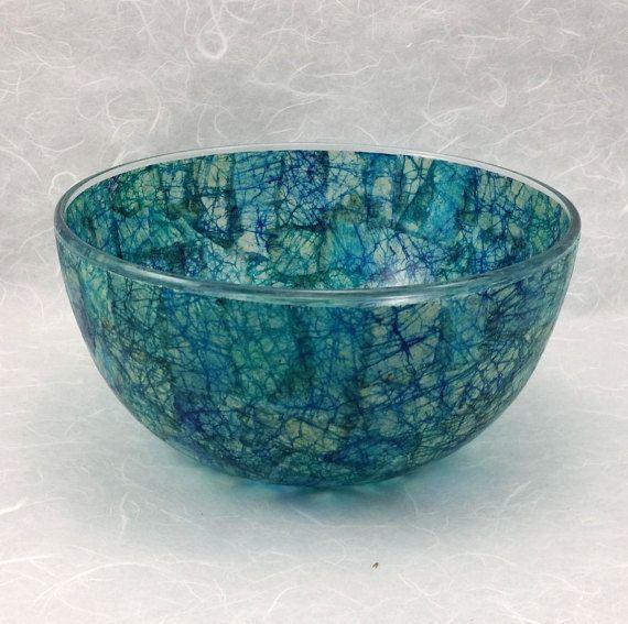 Decorative Glass Bowl Featuring Blue Batik by AltaMacStudio