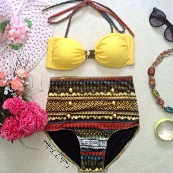 Hey, I found this really awesome Etsy listing at https://www.etsy.com/listing/180344738/yellow-aztec-high-waist-bikini
