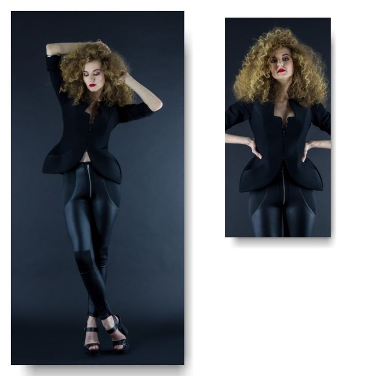 Black neoprene jacket  Price: 500 RON Black neoprene leggings with faux leather finish  Price: 250 RON