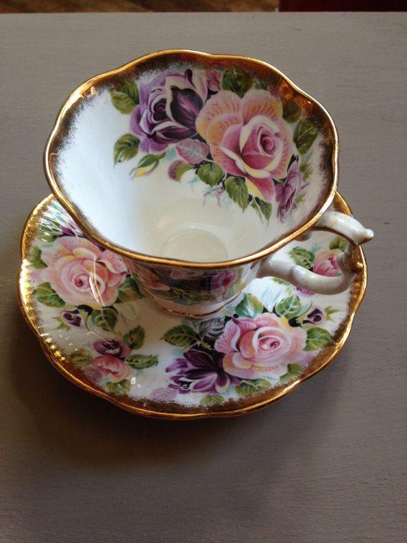 Royal Albert fine bone china tea cup and saucer Summer Bounty Series 'Amethyst' shabby chic rare
