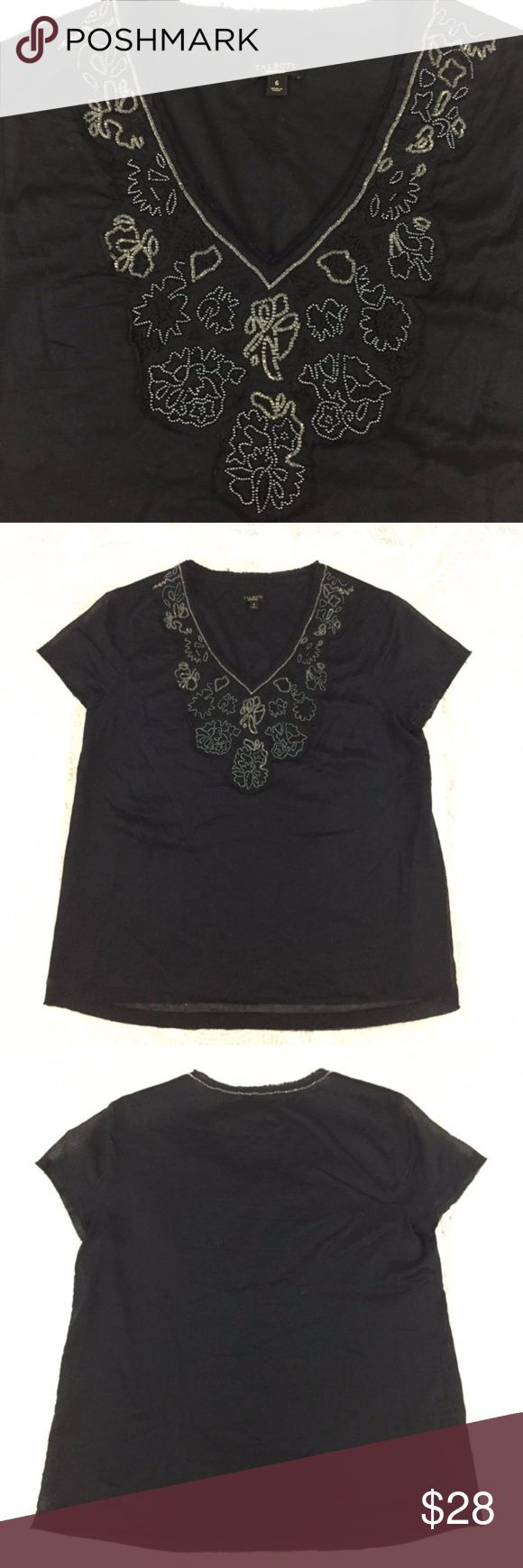 """EUC Talbots Blue Floral Beaded Navy Cotton Top, 6 EUC Talbots Blue Floral Beaded Navy Cotton Top, 6 Beautiful cotton navy short sleeve top. Features a stunning beaded design around the rough edge v neck. 100% Cotton. Machine washable. Measurements: Flat Lay Chest:18"""" Shoulder to hem: 24"""" Talbots Tops Blouses"""