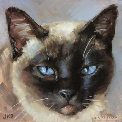 """Daily Paintworks - """"I am Siamese if You Please"""" - Original Fine Art for Sale - © J. Dunster"""