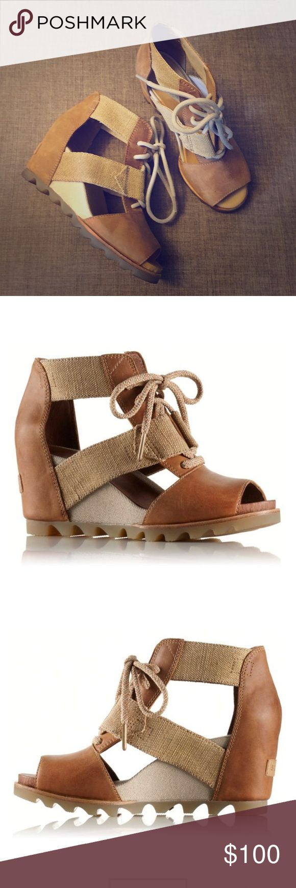 """Sorel Joanie Lace Wedge Sandal BeUtuful Sorel wedges size 7. Worn once as they were a """"sample"""" from a show. This is printed inside of shoe. They retail for 140$! Super comfortable and stylish. Sorel Shoes Wedges"""