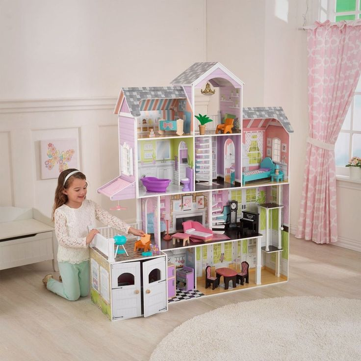 Barbie Size Dollhouse Furniture Girls Playhouse Dream Play Wooden Doll House NEW #BarbieSizeDollhouse