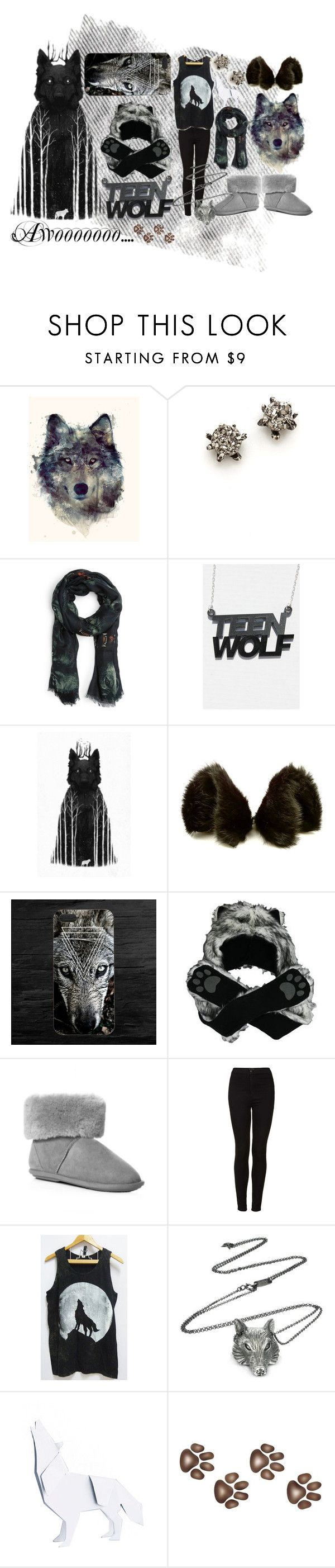 """""""Teen Wolf"""" by jungkook ❤ liked on Polyvore featuring Lauren Wolf, MANGO, Just Sheepskin, Topshop, Ugo Cacciatori and Artful Animal Figurines"""