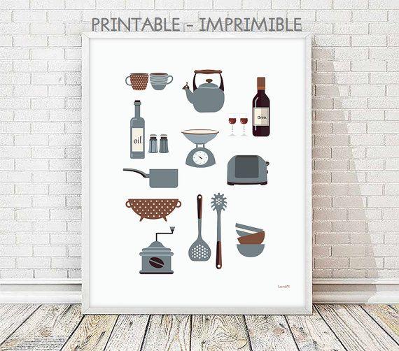 laminas cocina, laminas imprimibles, laminas decorativas, poster cocina imprimible, decoración cocina, ilustración digital, cuadro cocina