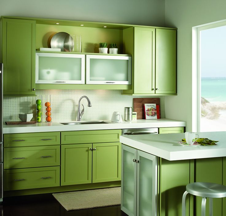 Would You Do These Bright Green Kitchen Cabinets?