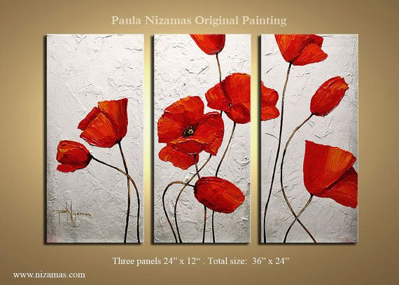 textured poppy painting... I just attempted the middle painting, and now both of my hands are extremely pink and there is not a drop of paint on the canvas... this is why I will never be an artist