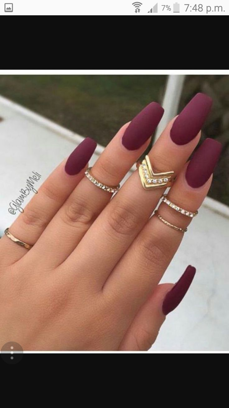 Long Maroon Coffin Shaped Trendy Nails In 2019 Acrylic Nails Dark Nails Cute Acrylic Nails