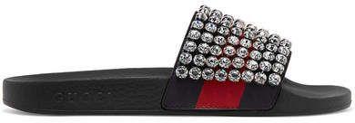 79048824b72 Pursuit Crystal-embellished Leather And Rubber Slides - Black   spotted airport Elle