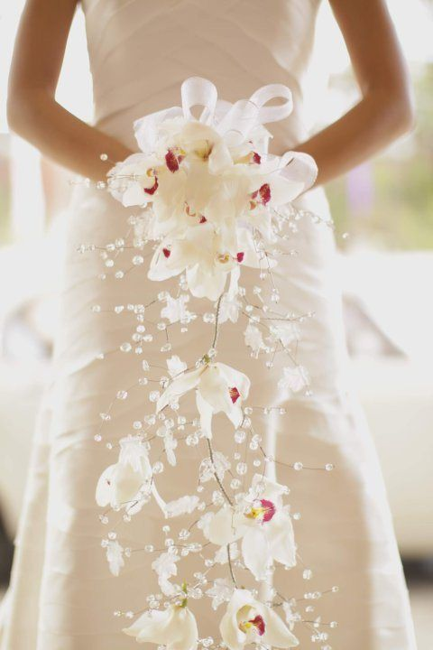 """Wow! This is unique """"Cascading bouquet with wire and crystal beads"""""""