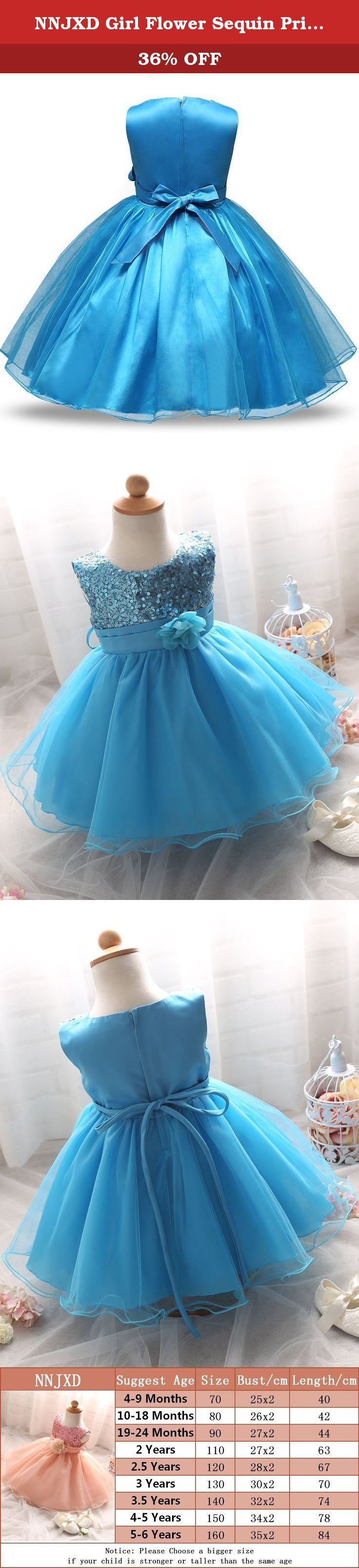 NNJXD Girl Flower Sequin Princess Tutu Tulle Baby Party Dress Size 5 ...