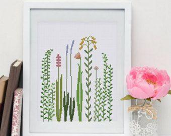 Erba del Wildflower schema punto croce | Moderno natura facile contato grafico | Progettazione vivaio botanico carina principiante | Pdf download immediato