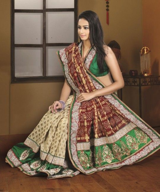 Red and cream resham work bandhej wedding saree