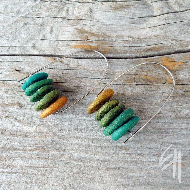 Polymer clay earrings by Eva Hakova.