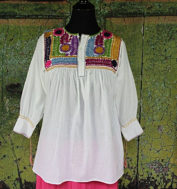 White & Multi-Color Hand Embroidered, Mayan Blouse, Chiapas Mexico, Hippie  Boho