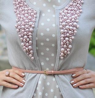 DIY Pearls on Cardigan