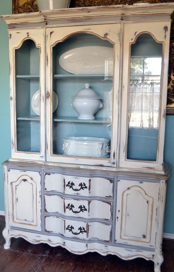 French China Cabinet Hutch White Gray Blue Gold Distressed