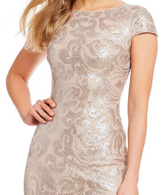 Calvin Klein Sequin Cap Sleeve Cowl Back Gown Dillard S