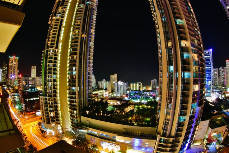 Gold Coast at Night. Surfers Paradise - taken  with an 8-15 mm fisheye.