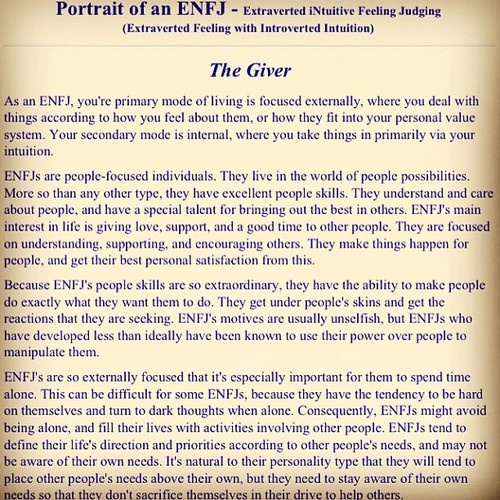 I'm an ENFJ. This is me. And Oprah, and Giada DeLaurentis, and Tyra Banks, and vivienne Leigh...