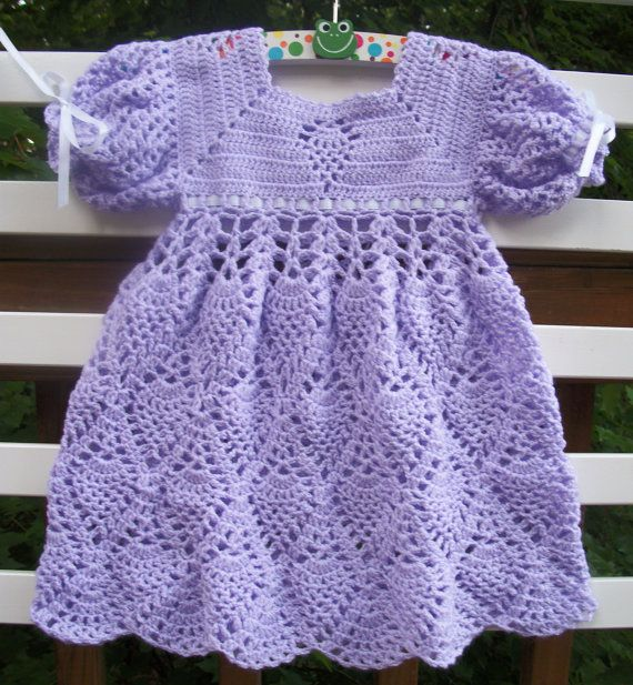 Crochet Baby Dress Lavender READY TO by sweetpeacollections, $28.00