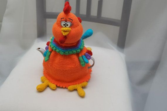 """Tea cosy """"orange rooster"""". Knitted tea cosy rooster. Funny cock knitted"""