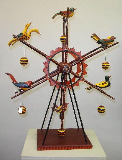FOLK ART BIRD WHEEL BY DON NOYES. Ohio folk artist :