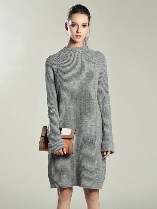 d73bb975093 Vinfemass Solid Color Knitted Loose  sweater Dress