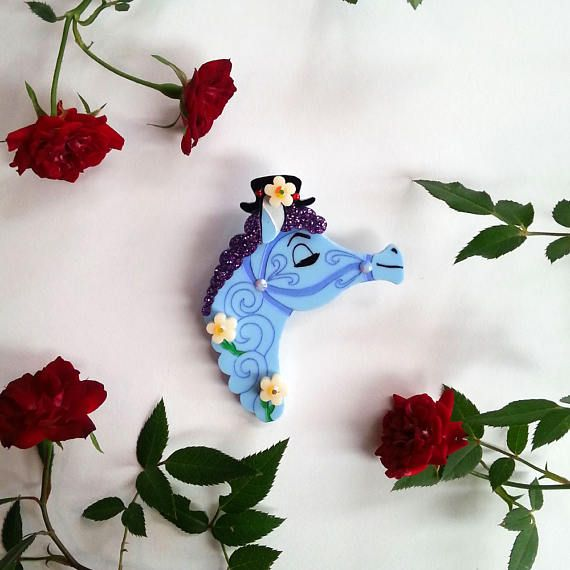PRE-ORDER Field Day Pony (Blueberry Edition) Wearable Art Brooch by Winnifreds Daughter
