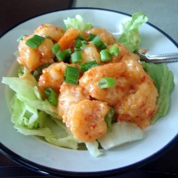 Bang Bang Shrimp -   1 lb shrimp, shelled and deveined smaller shrimp works best   1/2 cup mayonnaise   1/4 cup Thai sweet chili sauce   3 -5 drops hot chili sauce, just a few drops   1/2-3/4 cup cornstarch, to coat the shrimp in       Instructions   Mix mayo and sauces for...   Bread shrimp in cornstarch.   Deep fat fry the shrimp...