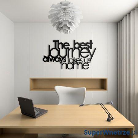 Napis na ścianę DekoSign THE BEST JOURNEY ALWAYS TAKES US HOME czarny TBJ1-1