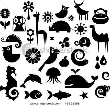 Lots of silhouettes....lots of fish, sea horses, whale, star fish, snail, deer, camel, giraffe, owl , jelly fish, etc.
