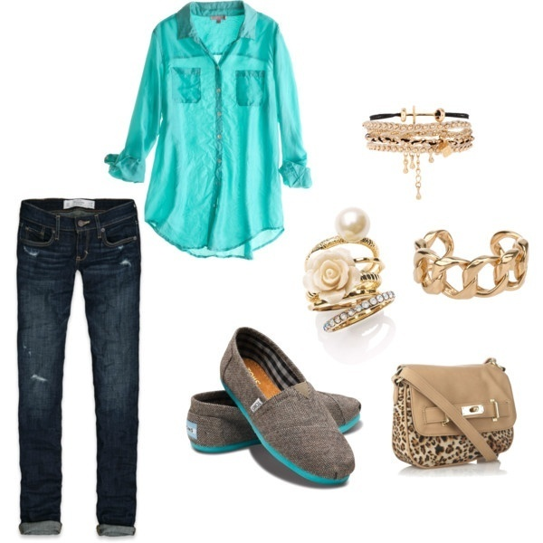 TOMS  and turquoise :): Toms, Style, Colleges Outfits, Shirts, Colors, Cute Outfits, Accessories, Gold Jewelry, Bags