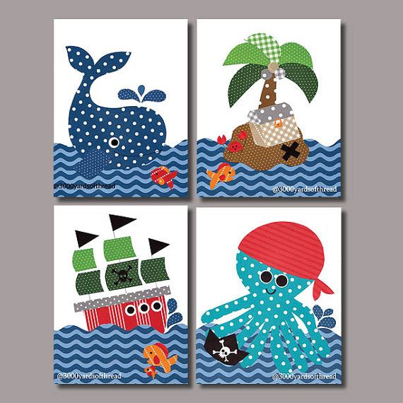 Nautical Pirate Nursery art prints baby by 3000yardsofthread art work childrens room little kids