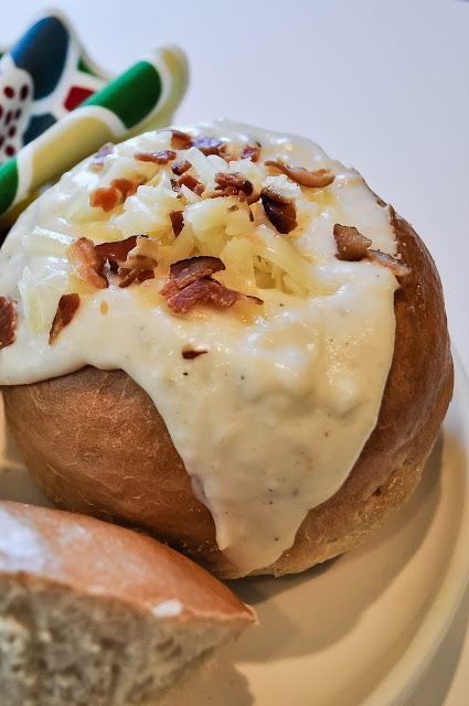 Baked Potato Soup in a Bread Bowl. A wonderful recipe and fantastic presentation!!