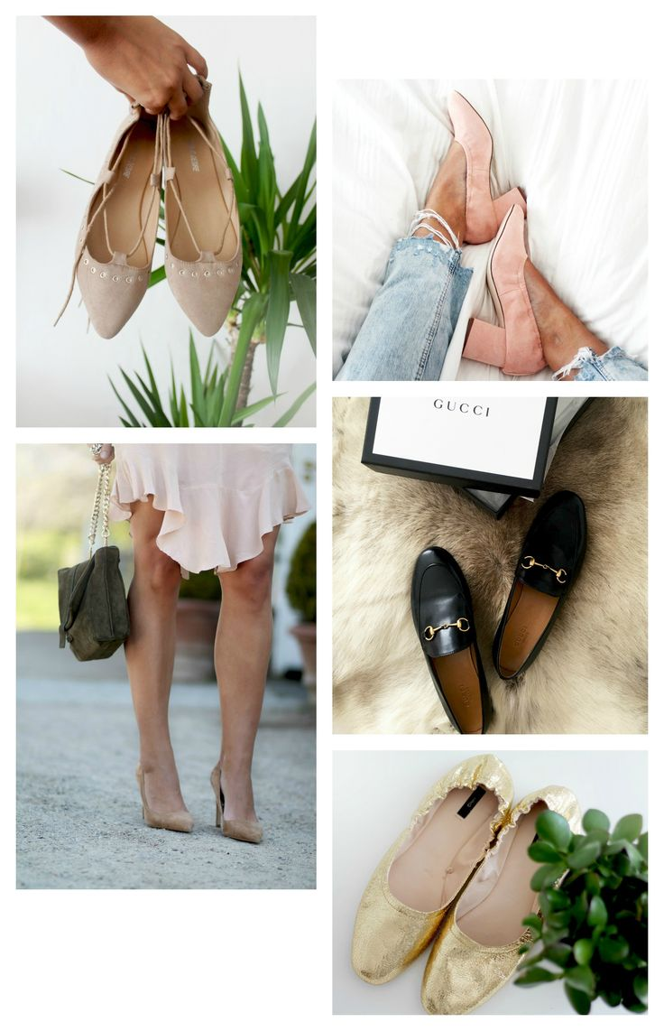 Shoes for Spring and Summer. Lace up flats, Chunky Pumps, Gucci loafers, Camel pumps and Gold ballerina. See more on natulia.com