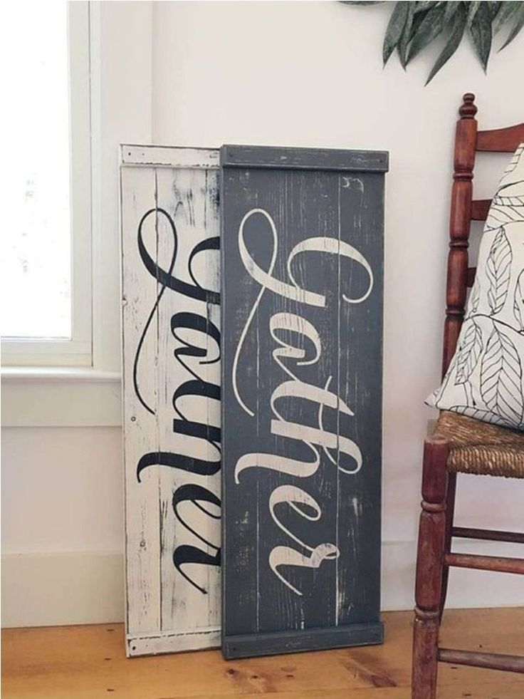 16 Dining Room Wall Decorating Ideas | Gather sign dining room, Gather wood sign, Rustic fall decor