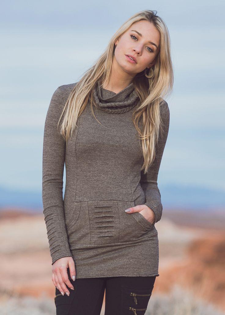 Ashram Sweater in hemp and organic cotton in brown fleck by Nomads Hemp Wear