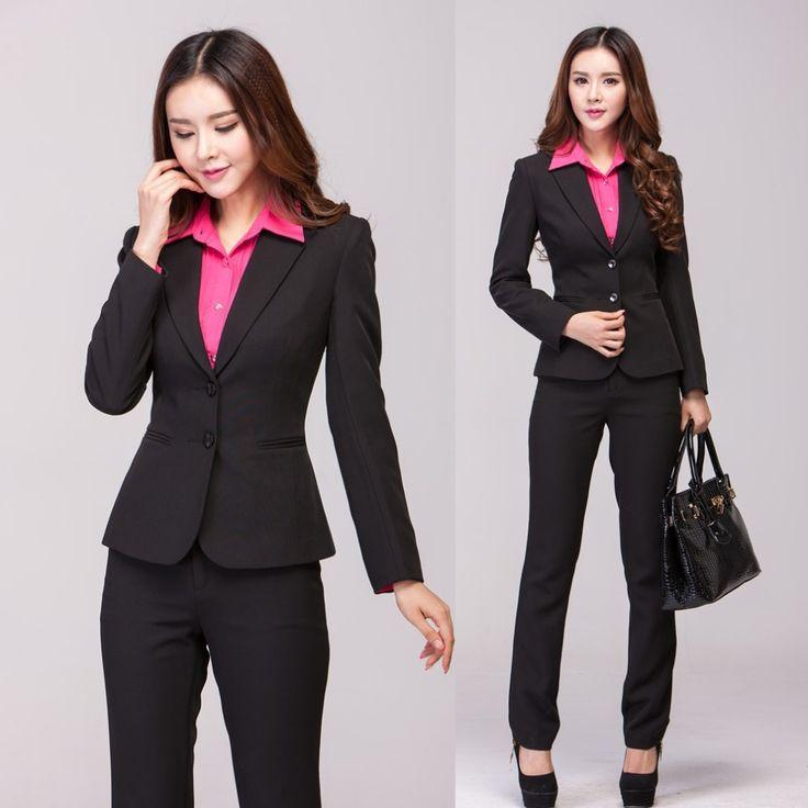 New 2016 Winter Formal Pantsuits Women Pant Suits Work Wear Sets Blazer Ladies Business Suits Office Uniform Styles